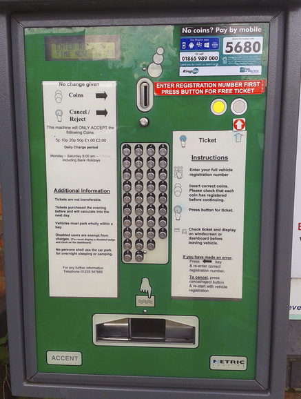 Poor layout of buttons on car park machine